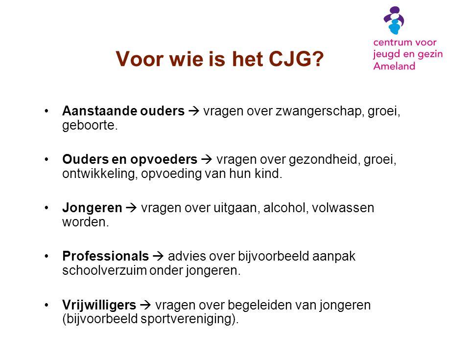 Voor wie is het CJG Aanstaande ouders  vragen over zwangerschap, groei, geboorte.