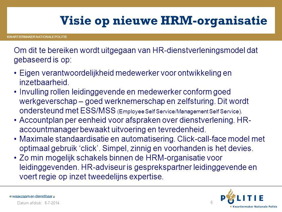 Visie op nieuwe HRM-organisatie