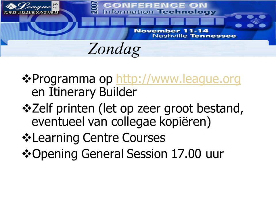 Zondag Programma op http://www.league.org en Itinerary Builder