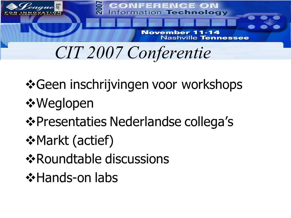 CIT 2007 Conferentie Geen inschrijvingen voor workshops Weglopen