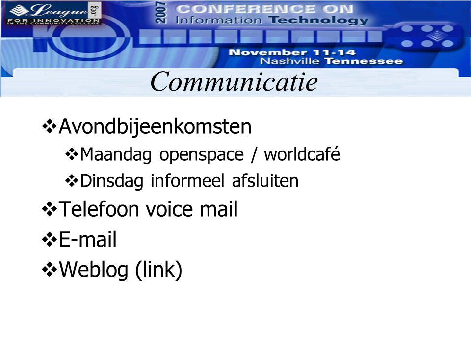 Communicatie Avondbijeenkomsten Telefoon voice mail E-mail