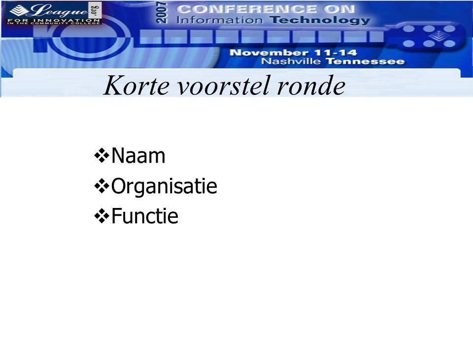 Korte voorstel ronde Naam Organisatie Functie