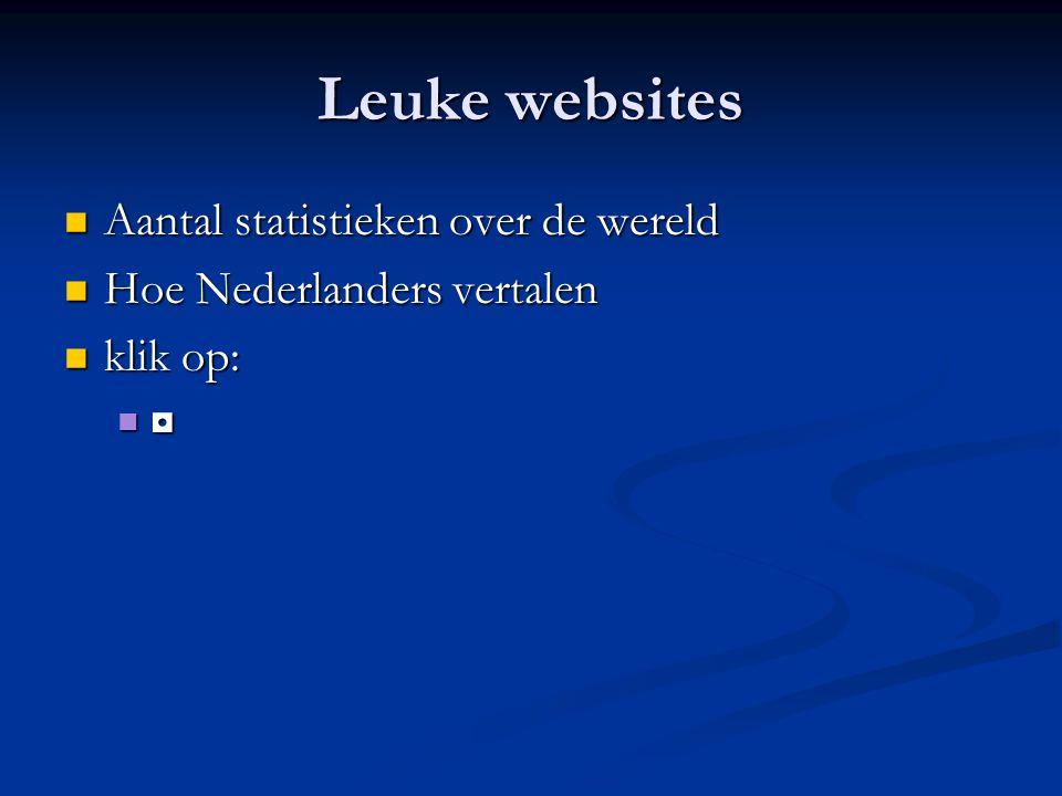 Leuke websites Aantal statistieken over de wereld