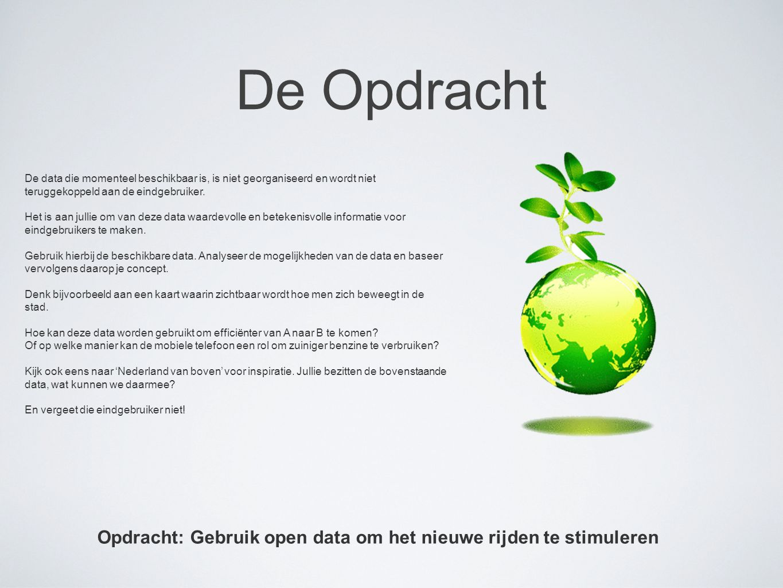 Opdracht: Gebruik open data om het nieuwe rijden te stimuleren