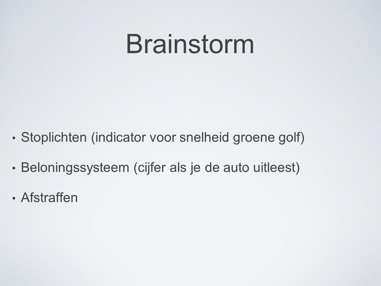 Brainstorm Stoplichten (indicator voor snelheid groene golf)