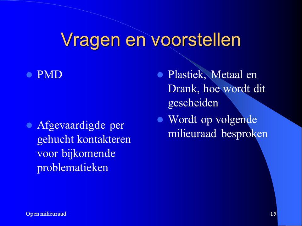 Vragen en voorstellen PMD