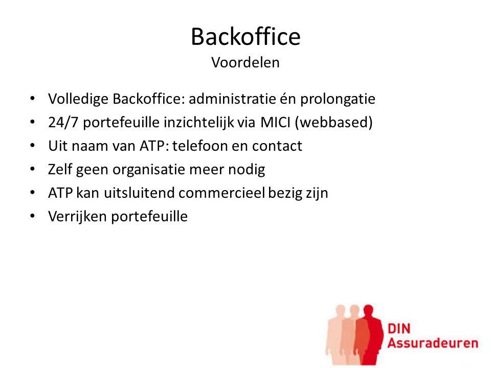 Backoffice Voordelen Volledige Backoffice: administratie én prolongatie. 24/7 portefeuille inzichtelijk via MICI (webbased)