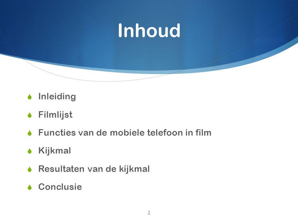 Inhoud Inleiding Filmlijst Functies van de mobiele telefoon in film