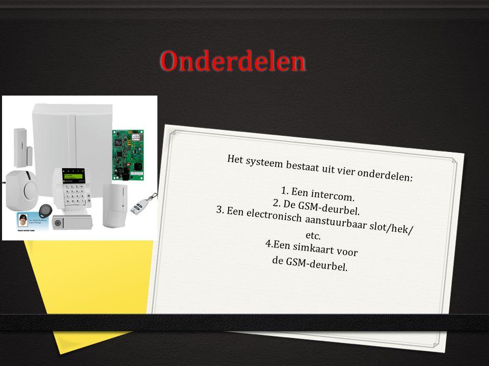 Onderdelen Het systeem bestaat uit vier onderdelen: 1. Een intercom. 2. De GSM-deurbel. 3. Een electronisch aanstuurbaar slot/hek/