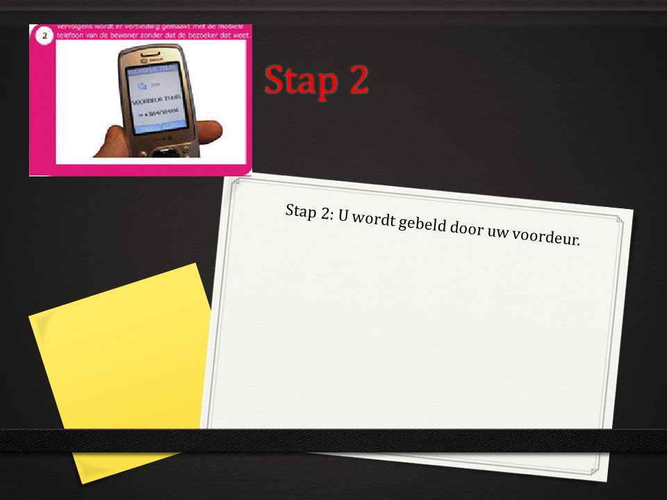Stap 2: U wordt gebeld door uw voordeur.