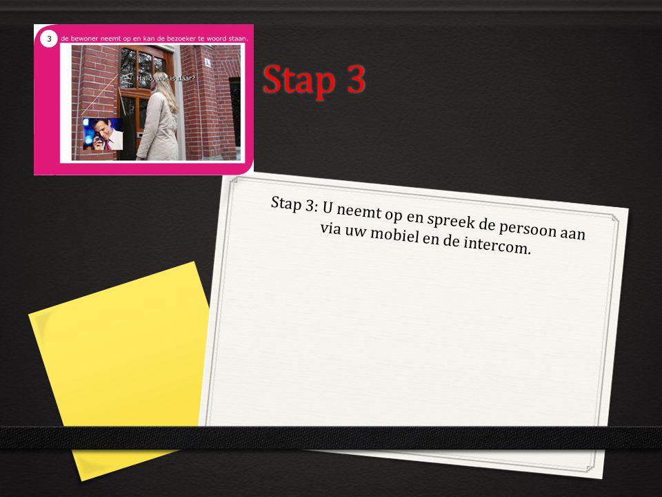 Stap 3 Stap 3: U neemt op en spreek de persoon aan via uw mobiel en de intercom.