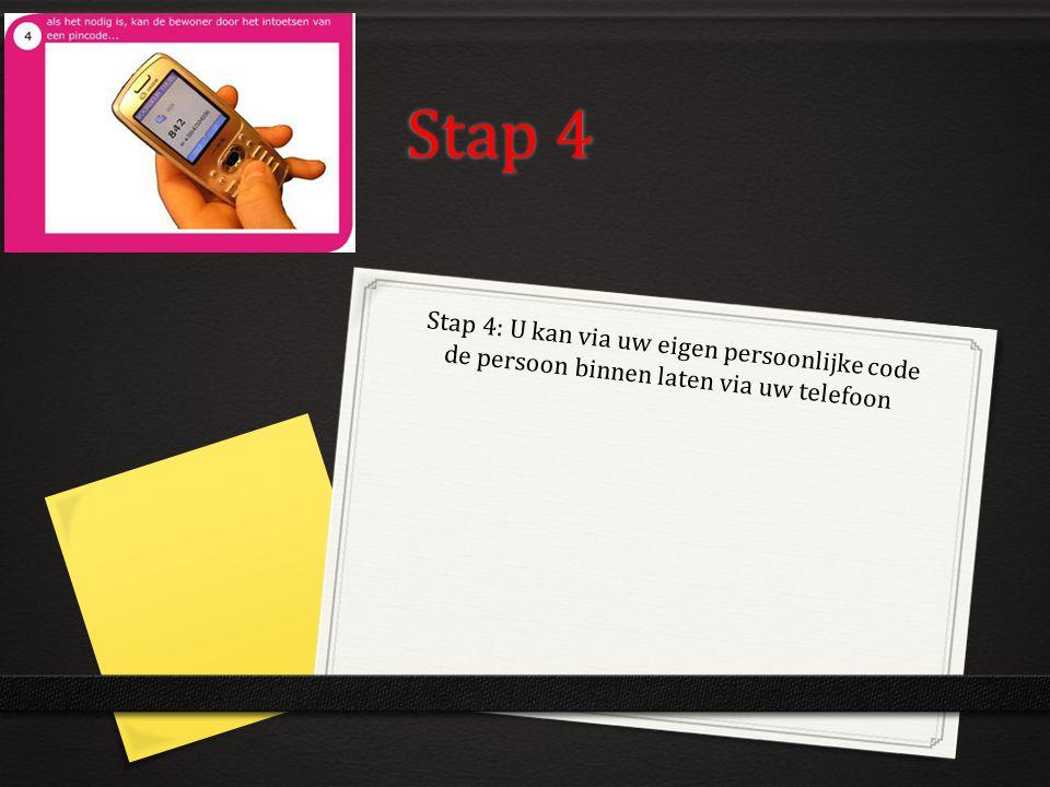 Stap 4 Stap 4: U kan via uw eigen persoonlijke code de persoon binnen laten via uw telefoon