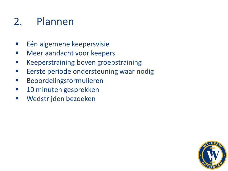 2. Plannen Eén algemene keepersvisie Meer aandacht voor keepers