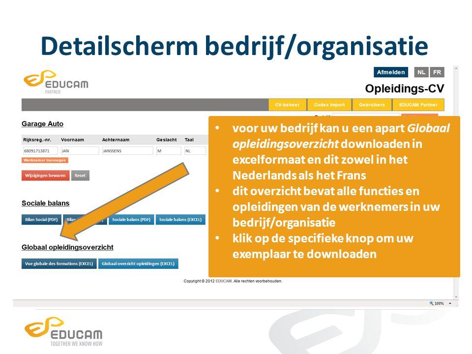 Detailscherm bedrijf/organisatie