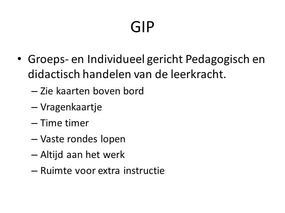 GIP Groeps- en Individueel gericht Pedagogisch en didactisch handelen van de leerkracht. Zie kaarten boven bord.