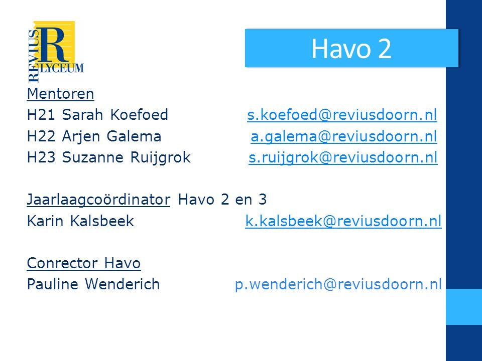 Havo 2 Mentoren H21 Sarah Koefoed s.koefoed@reviusdoorn.nl