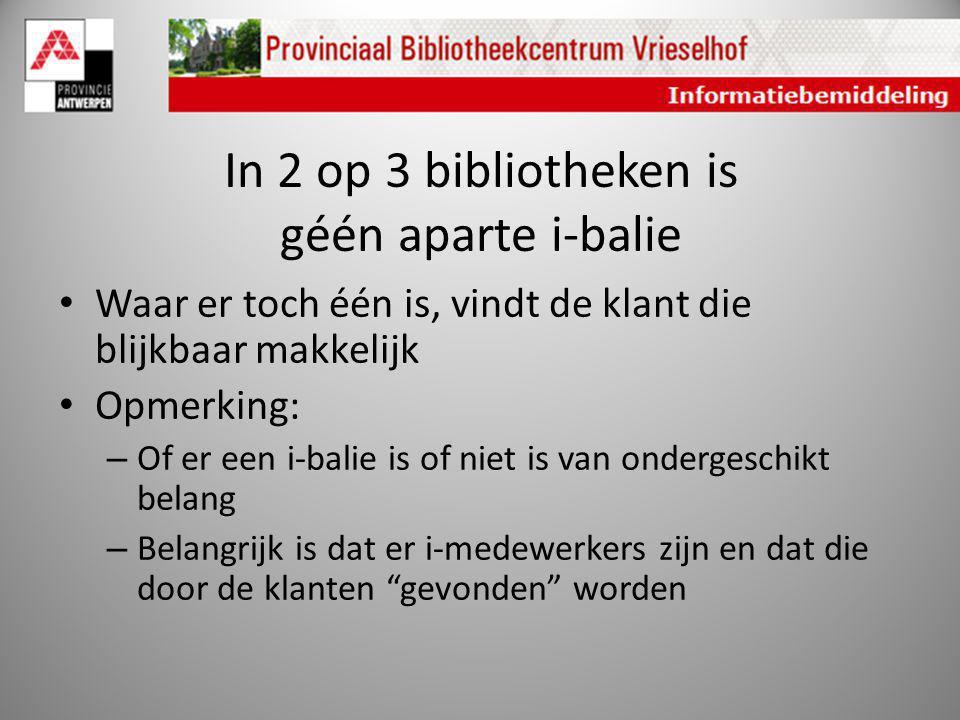 In 2 op 3 bibliotheken is géén aparte i-balie