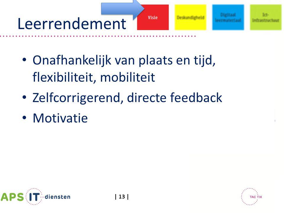 Leerrendement Onafhankelijk van plaats en tijd, flexibiliteit, mobiliteit. Zelfcorrigerend, directe feedback.