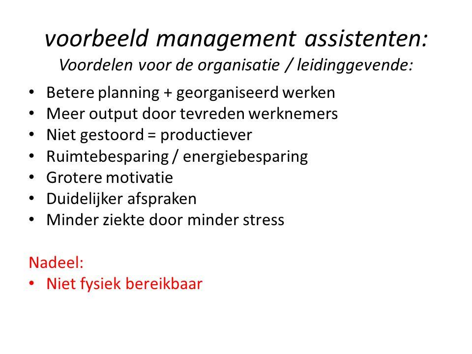 voorbeeld management assistenten: Voordelen voor de organisatie / leidinggevende: