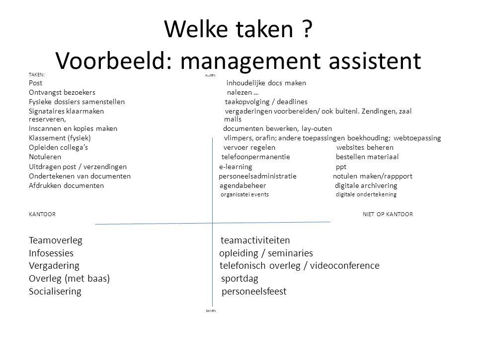 Welke taken Voorbeeld: management assistent