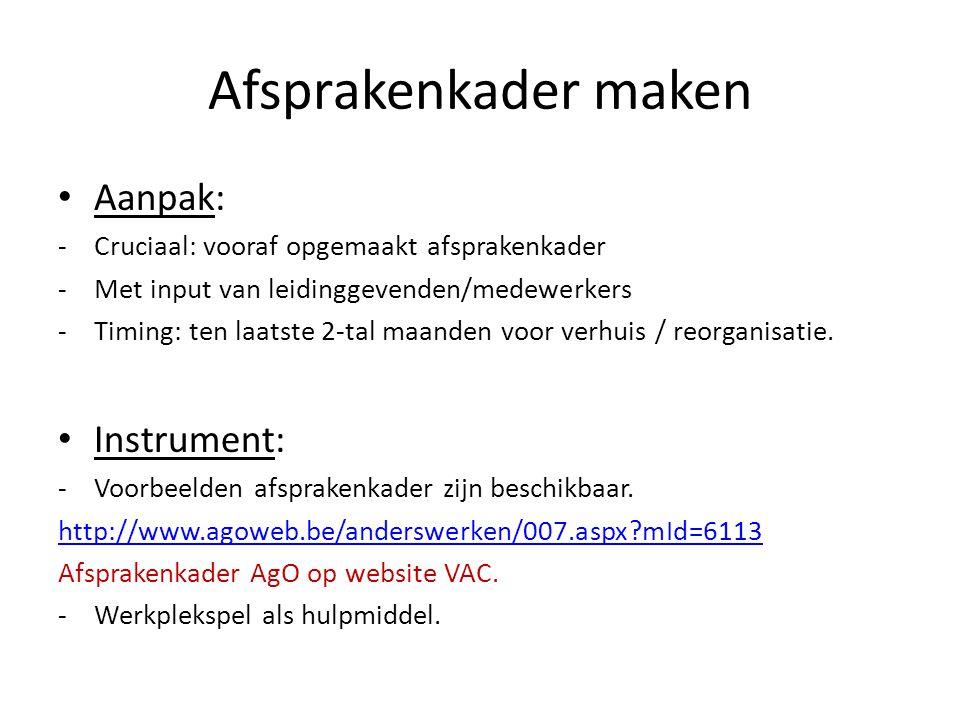 Afsprakenkader maken Aanpak: Instrument: