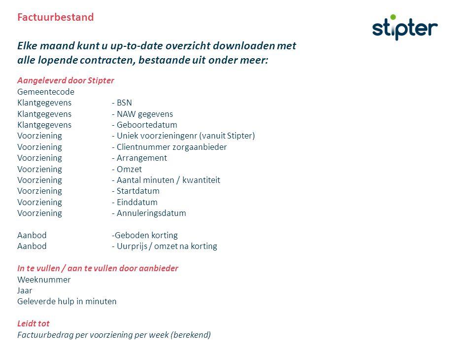 Factuurbestand Elke maand kunt u up-to-date overzicht downloaden met alle lopende contracten, bestaande uit onder meer: