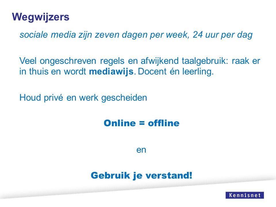 Wegwijzers sociale media zijn zeven dagen per week, 24 uur per dag