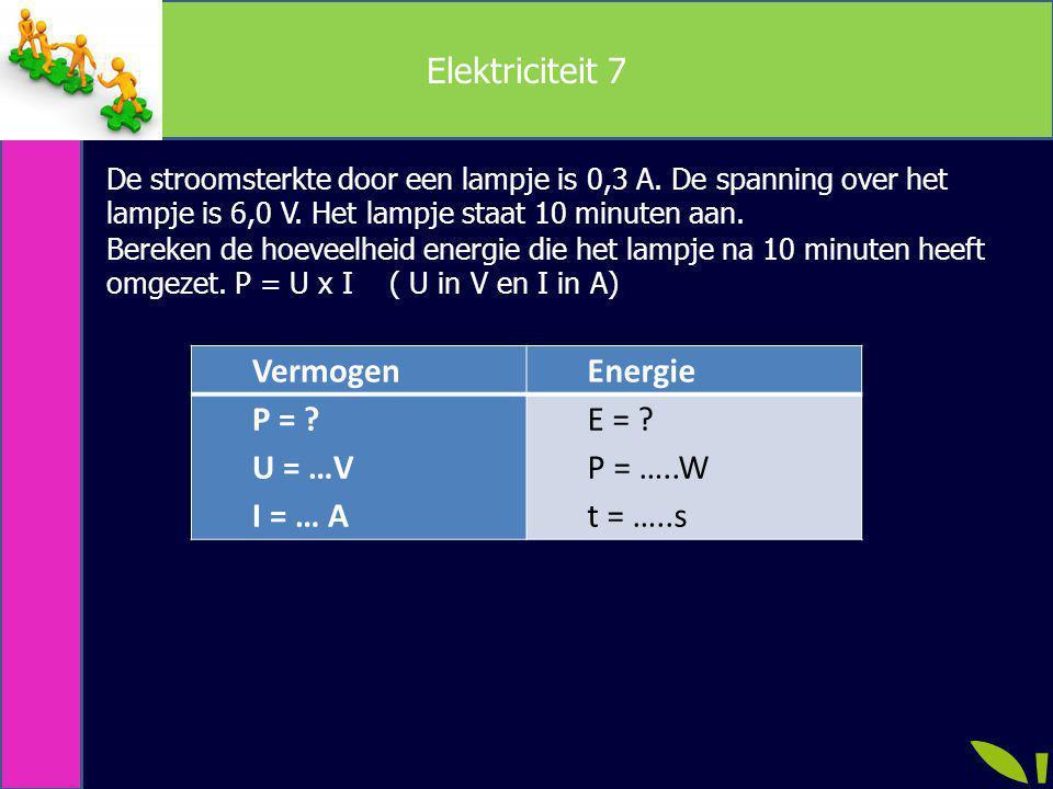 Elektriciteit 7 Vermogen Energie P = U = …V I = … A E = P = …..W