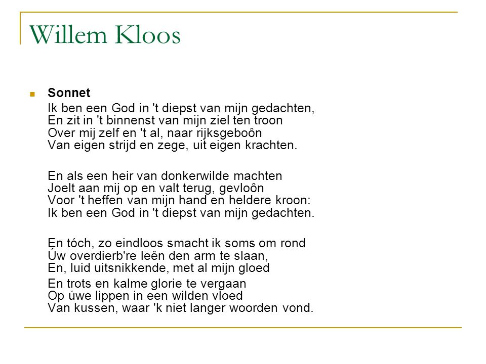 Willem Kloos Sonnet.
