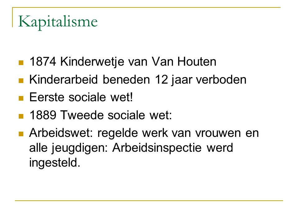 Kapitalisme 1874 Kinderwetje van Van Houten