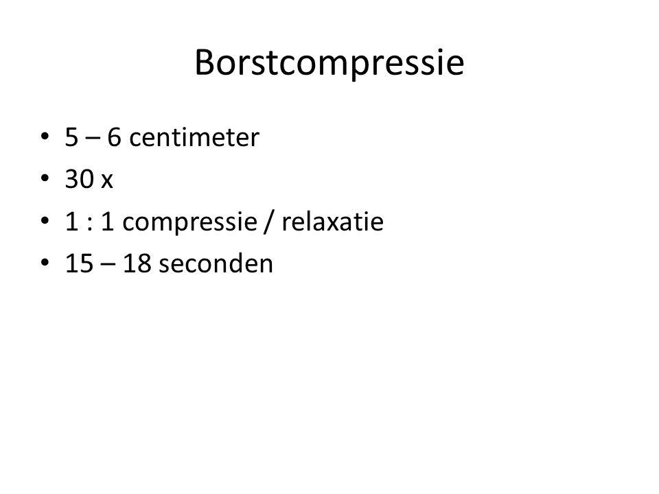 Borstcompressie 5 – 6 centimeter 30 x 1 : 1 compressie / relaxatie