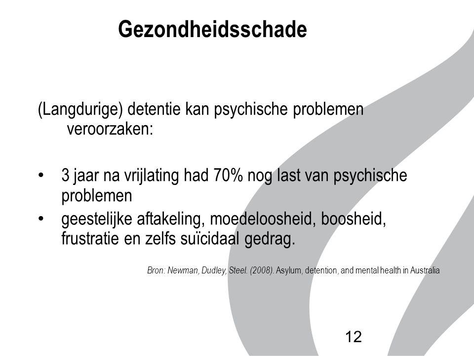 Gezondheidsschade (Langdurige) detentie kan psychische problemen veroorzaken: 3 jaar na vrijlating had 70% nog last van psychische problemen.
