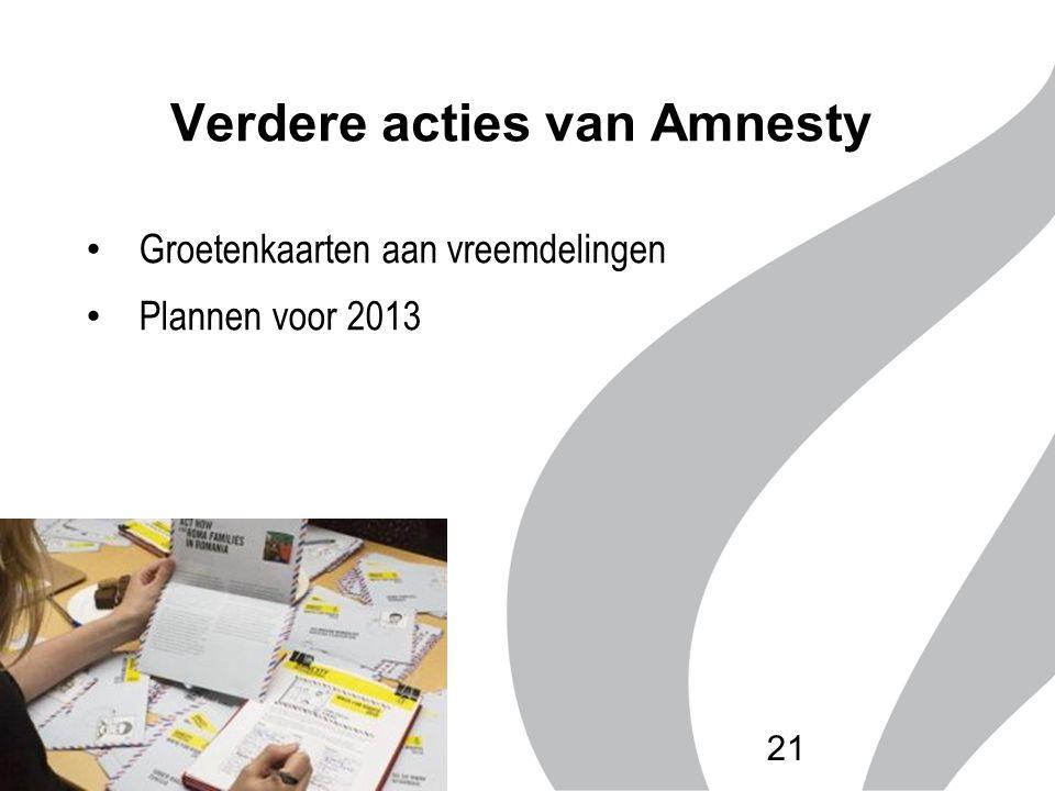 Verdere acties van Amnesty