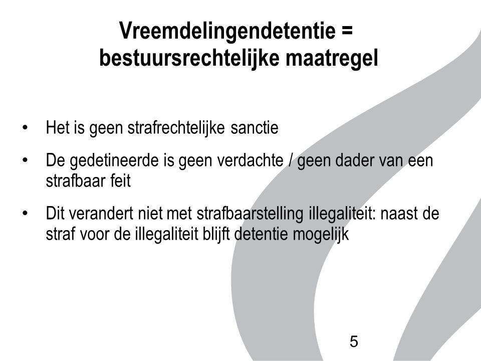 Vreemdelingendetentie = bestuursrechtelijke maatregel