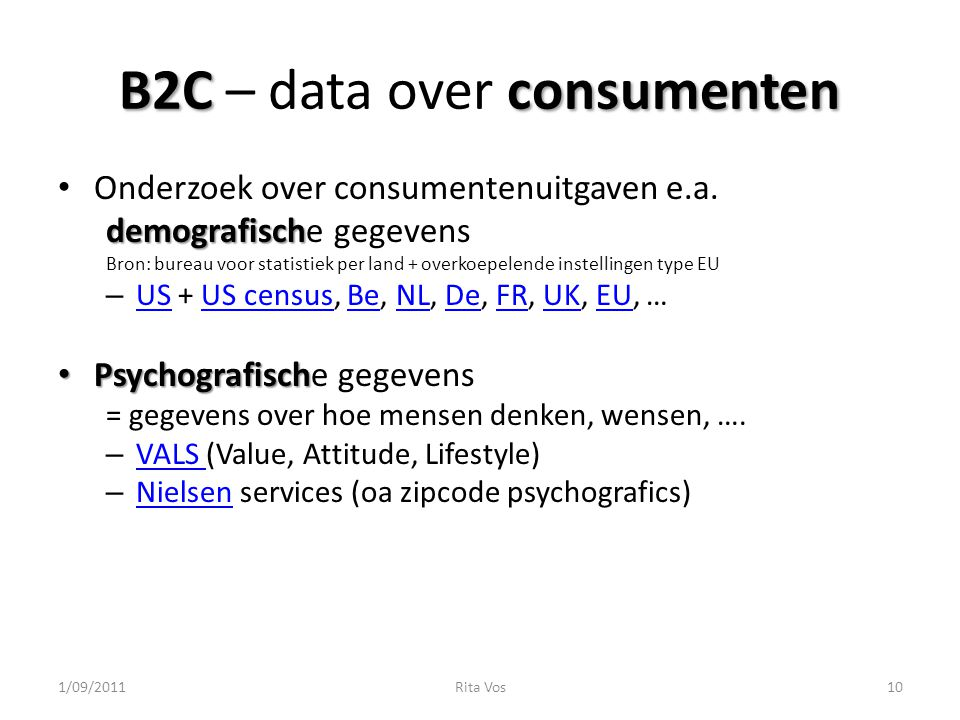 B2C – data over consumenten