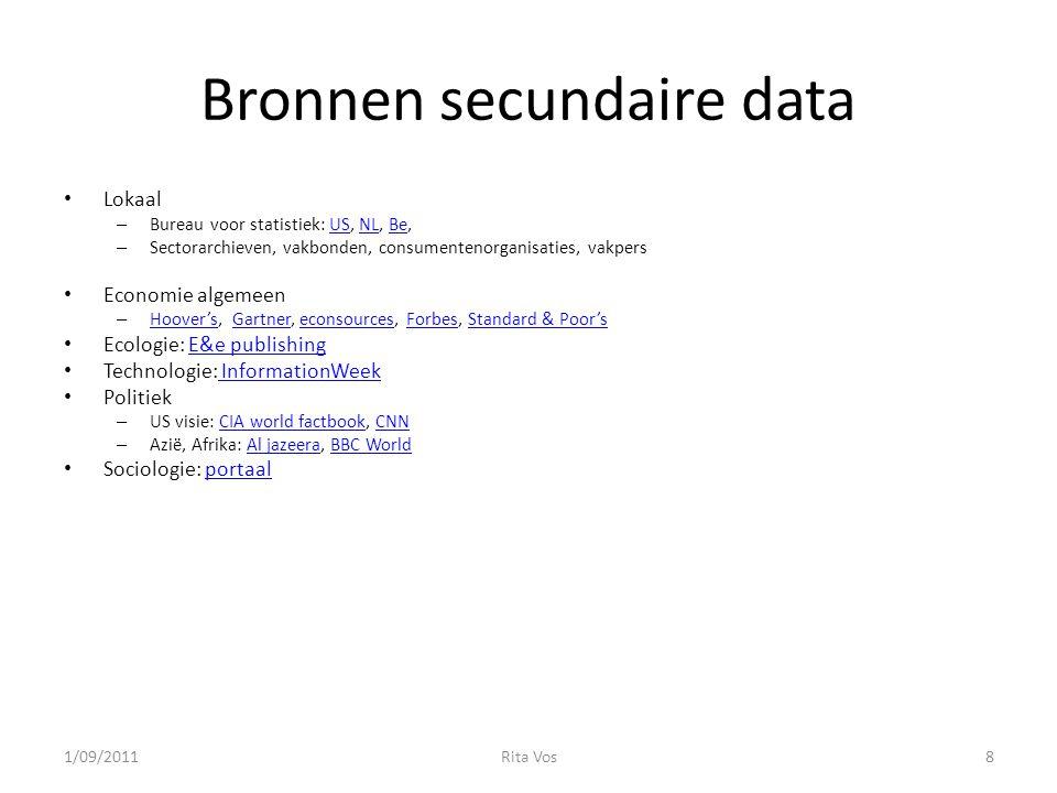 Bronnen secundaire data