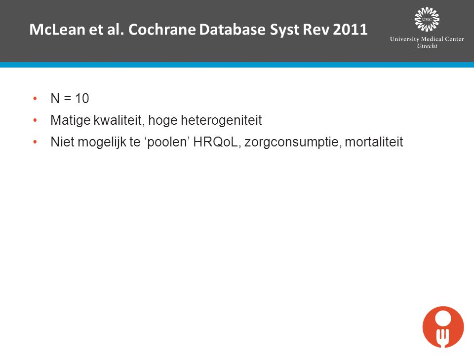 McLean et al. Cochrane Database Syst Rev 2011