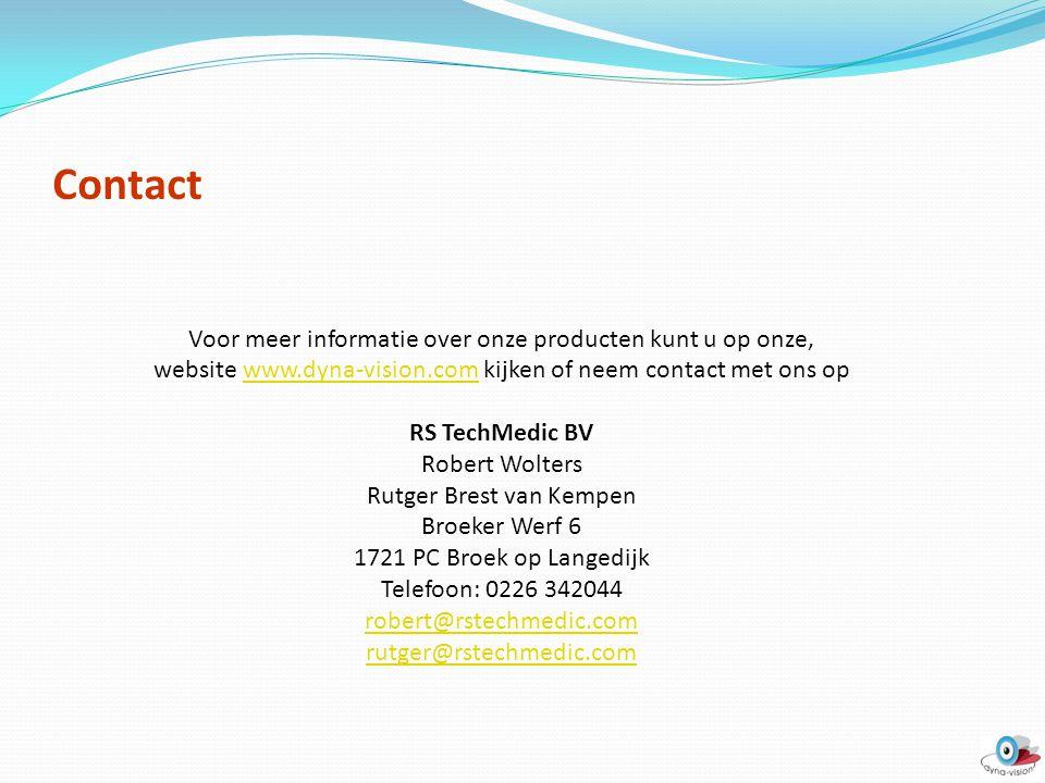 Contact Voor meer informatie over onze producten kunt u op onze,