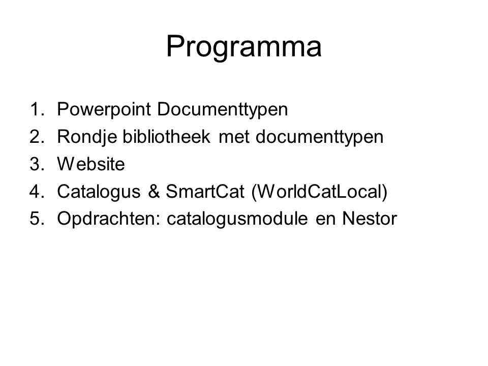 Programma Powerpoint Documenttypen