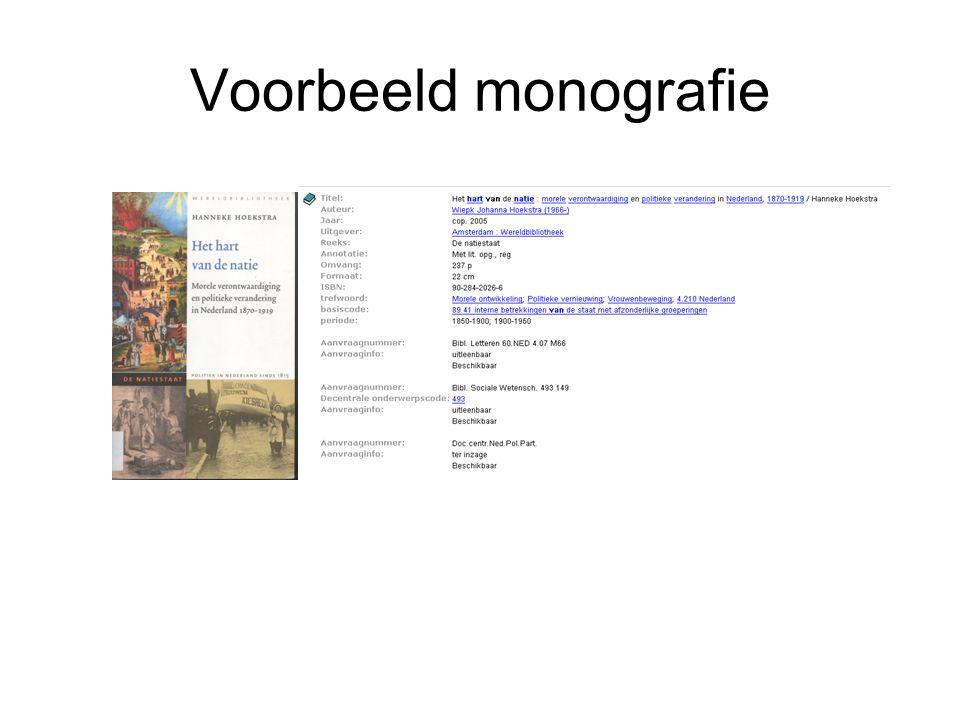 Voorbeeld monografie Vb monografie