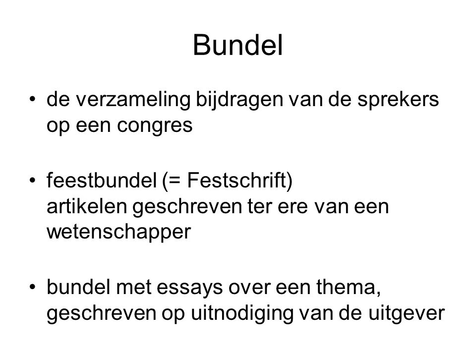 Bundel de verzameling bijdragen van de sprekers op een congres
