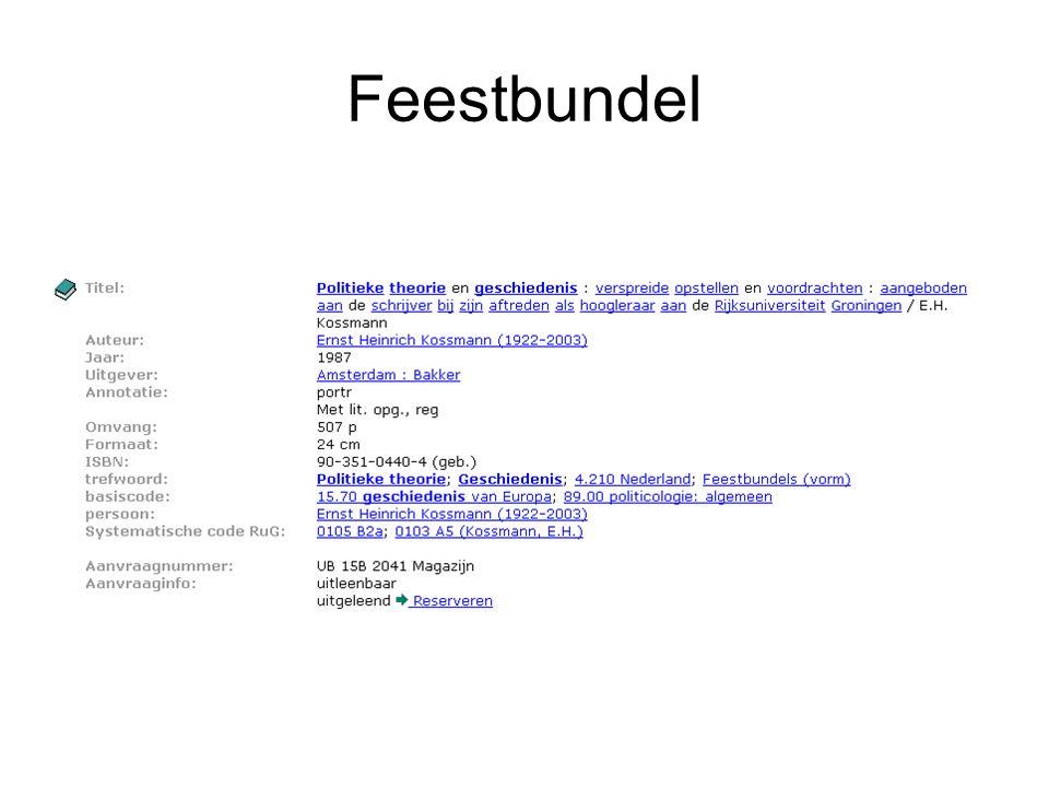 Feestbundel Catalogusbeschrijving van een feestbundel