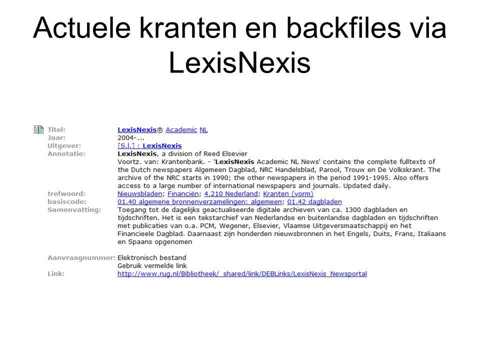Actuele kranten en backfiles via LexisNexis