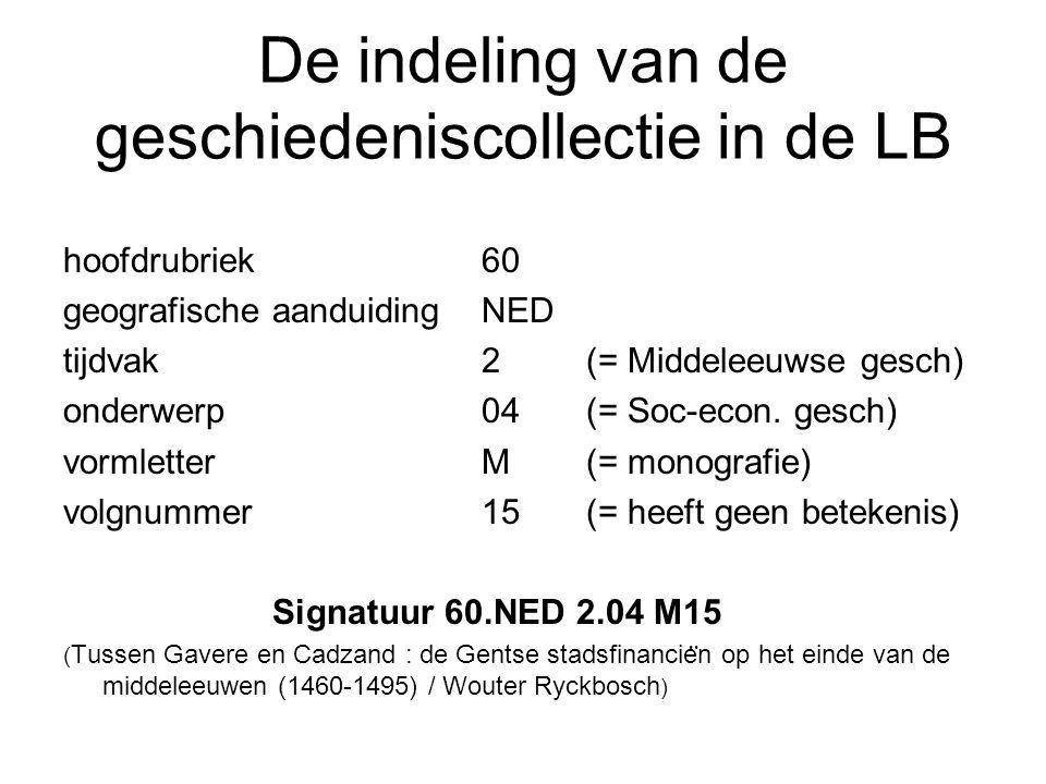 De indeling van de geschiedeniscollectie in de LB