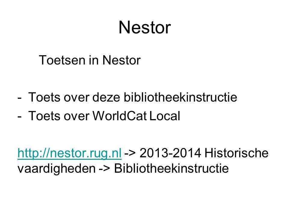Nestor Toetsen in Nestor Toets over deze bibliotheekinstructie