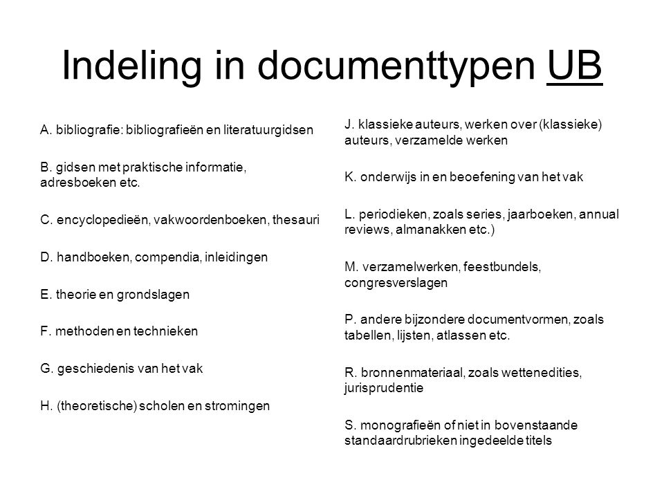 Indeling in documenttypen UB