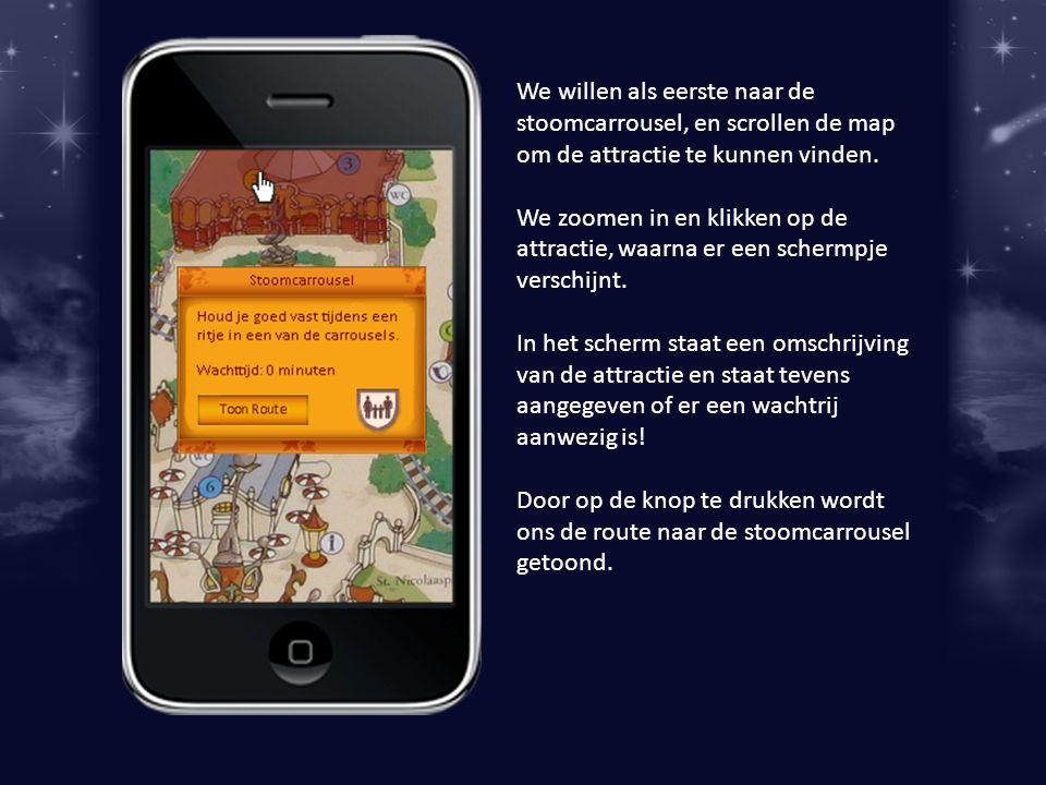 We willen als eerste naar de stoomcarrousel, en scrollen de map om de attractie te kunnen vinden.