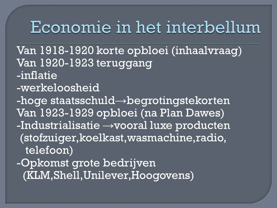 Economie in het interbellum