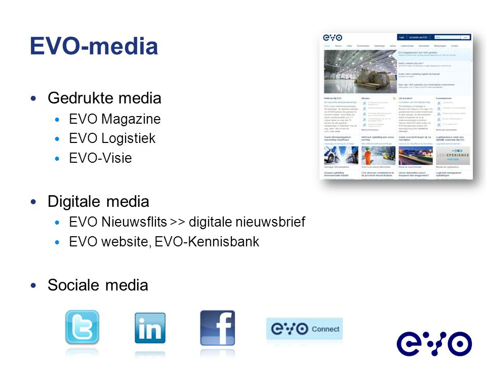 EVO-media Gedrukte media Digitale media Sociale media EVO Magazine