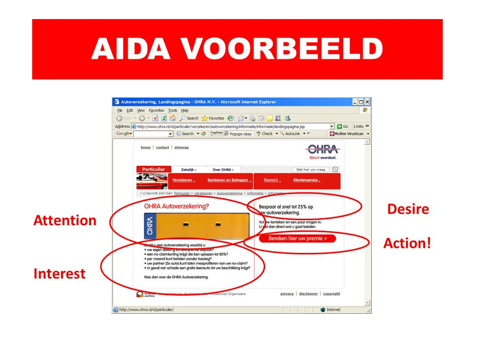 AIDA VOORBEELD Desire Attention Action! Interest